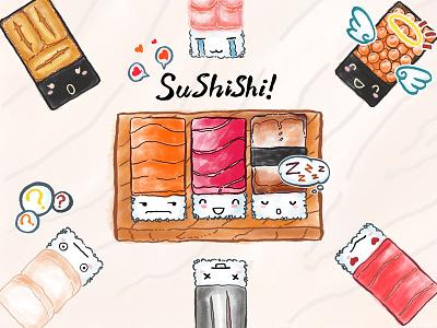 Sushishi! Sticker pack online🍣 iphone imessage fun sushi illustration sticker