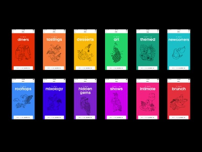 Illustrations for NoQuestionsAsked colorful app bird food brush illustration