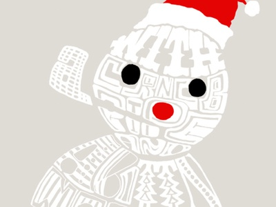 Frosting a Snowman. Holiday Lettering