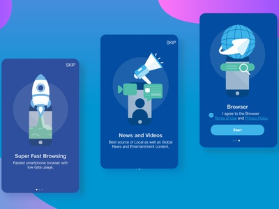 App Onboarding video and chat rocket launch blue and white flat  design app onboarding browser design ui illustration