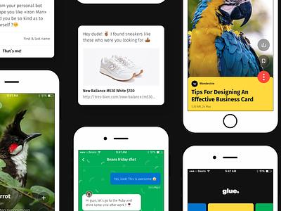 Glue – Awesome mobile UI Kit screens mobile ui ui kit ios