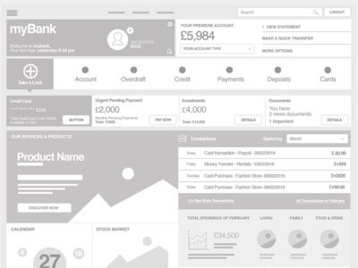 Dashboard Wireframe  draft ux interface user ui account bank banking dashboard wireframe