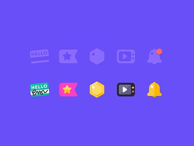 New DIY Nav Icons kids app nav navigation ui flat vector diy icon set kids tv coin gem star flag bell name tag illustration icons