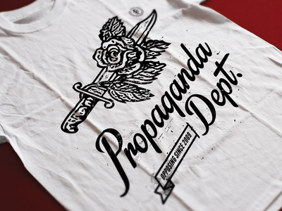 Propaganda Dept. tatto illustration typography vintage print tshirt knife rose propaganda