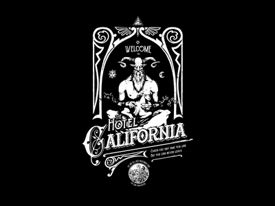 Satans' Hotel California occult black dark illustration eagles song vintage typography california hotel satanism satan
