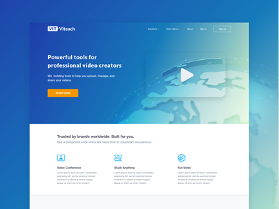 Video Hosting sketch app gradient color blue hosting video one page site landing page abstract art world icons play video background ux design web iu design homepage design