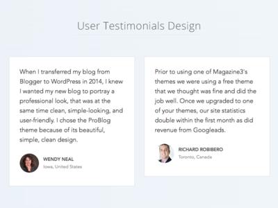 User Testimonials Design customers testimonials users