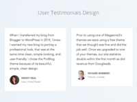 User Testimonials Design