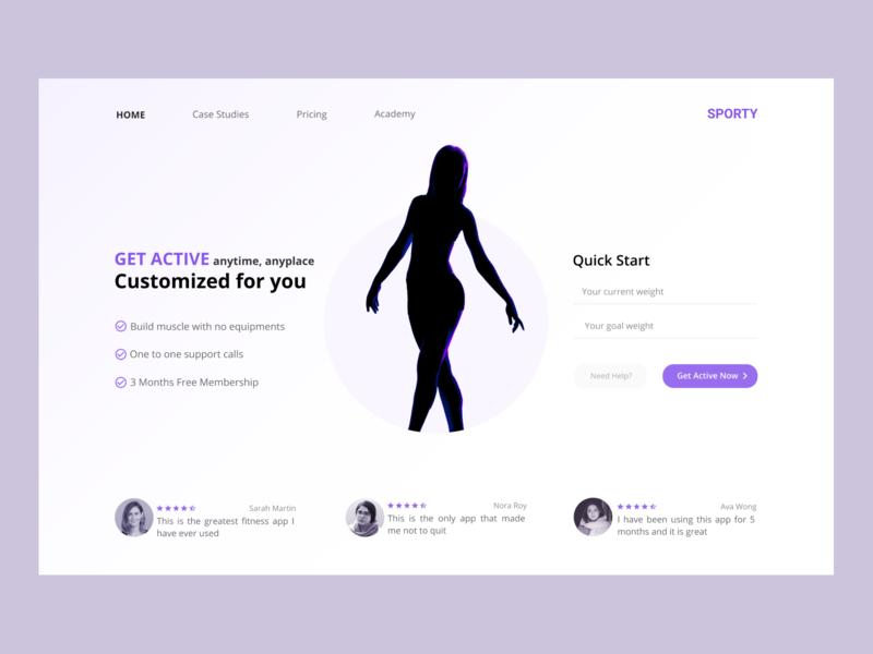 Sporty | Fitness Web App website flat ux web ui typography testimonial minimal circle design ballet gym design purple cta landing page fitness homepage