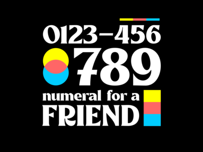 Numerals poster numerals cmyk logo typework typeface font lettering vector typography