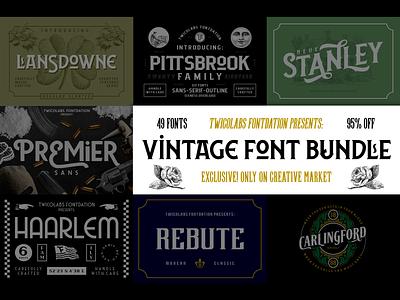 Vintage Font Bundle | 49 Fonts in 1 bundle branding fontdation logotype typework logo vintage typography typeface font