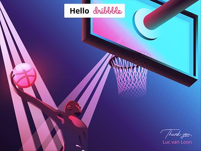 Hello Dribbble! illustrator dunk basketball firstshot