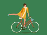 Red bicycle, yellow dress