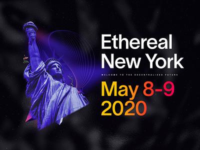 Ethereal Summit New York 2020 Key Art future geometric flowers liberty gradients ethereal new york collage digital cosmic