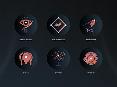 Dark Charm Icons branding brush delivery efficiency expertise creative empathy illustrator iconography icons illustration