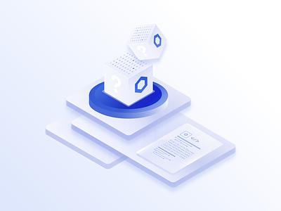 Chainlink VRF - Verifiable Random Function smart contract numbers dice randomness isometric chainlink blockchain branding illustration