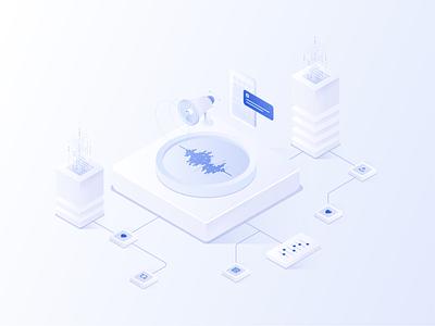 Press technology data media smart contracts isometric press blockchain chainlink illustration branding