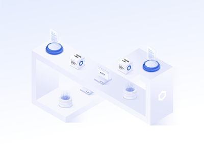 Ecosystem open source technology tech isometric impossible shape smart contract data node cube chainlink ecosystem