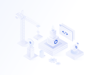 Developer Resources middleware blockchain data tech technology stacks build building developer tools tools api security isometric developers smart contracts visual design illustration branding