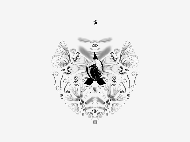 Chaos surrealism symmetry collage art hands eyes black and white collage digital