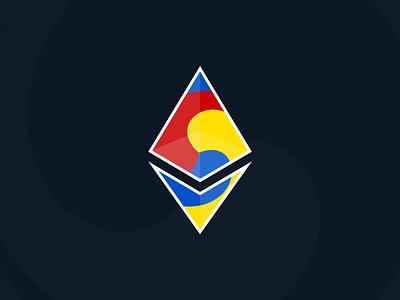 ETH Korea geometry badge branding blockchain symbol logo diamond sam-taeguk taeguk open source eth ethereum symbolism korea