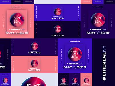Ethereal Summit New York • 2019 pink purple gradient orb color block modular future digital brand marketing event conference blockchain ethereal design branding visual identity