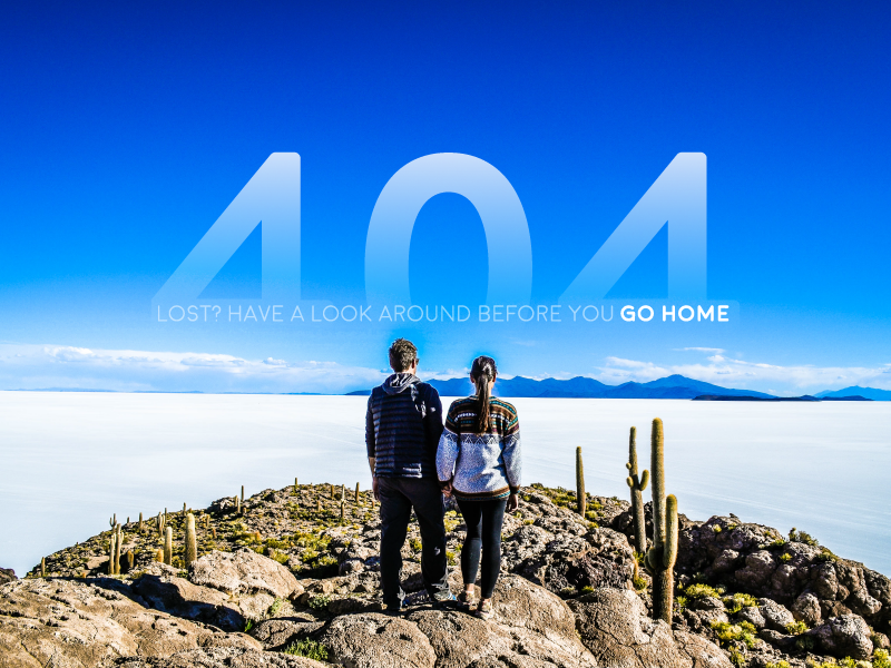 Daily UI 008 - 404 Page gradient challenge salt flats blue sky lost 404 008 daily ui