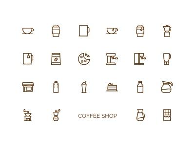 Coffee Shop Icons outline coffee iconography icon set icon