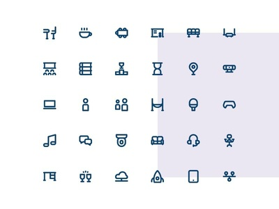Coworking Icons co-working coworking iconography icon set ui linier outline icon