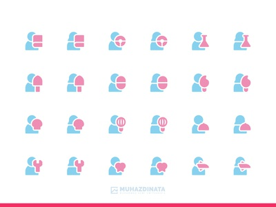 Professions icons glyph flat vector icon set iconography icon