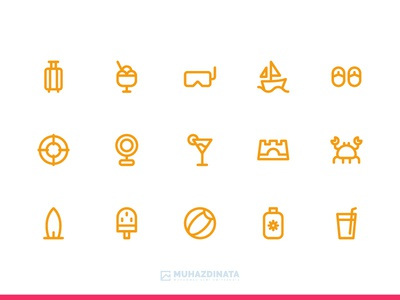 Summer Icons illustration vector ui outline icon set iconography icon