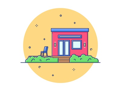 Tiny House vector outline lineart illustration house design building