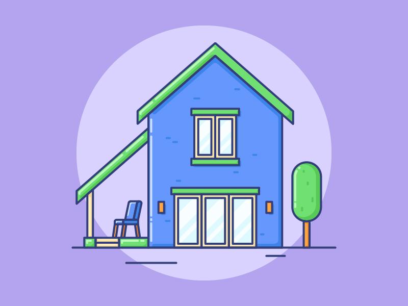 House Illustration vector outline lineart illustration house design building