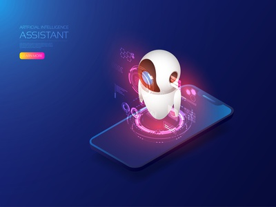 Ai assistant communication connection network robotic robot assistant smartphone ai internet of things iot internet hologram isometric artificial intelligence app digital user interface icon ui technology