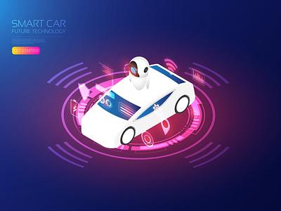 Smart car bot robotic robot assistant vehicle smartcity smartcar ai iot hologram isometric artificial intelligence app digital user interface icon ui technology vector illustration