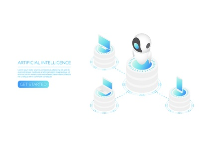 Ai assistant business robotic isometric assistant database big data internet network online iot server computer ai artificial intelligence digital user interface icon technology vector
