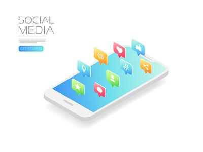 Social media poster share like internet telephone connection communication community application social media smartphone ux ui app icon user interface illustration vector technology isometric