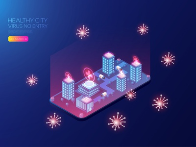 Healthy city patient technology logo medical helicopter ambulance building redcross smart city coronavirus covid19 virus healthy hospital medicine isometric user interface icon technology vector illustration
