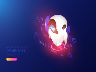 Artificial intelligence assistant iot dashboard digital connection binary analysis robot hologram ai computer isometric artificial intelligence user interface icon ui design technology vector illustration