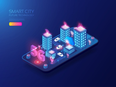 Smart City broadband smartcar smartcity wifi cloud internet network 5g connection communication computer isometric artificial intelligence app user interface background design technology vector illustration