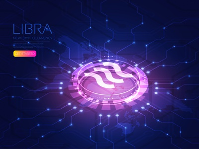Libra exchange laser hud facebook coin libra cryptocurrency cash money isometric hologram artificial intelligence digital user interface background design technology vector illustration