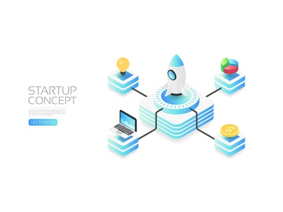 Startup concept computer money idea startup business concept rocket isometric artificial intelligence app icon user interface background design technology vector illustration