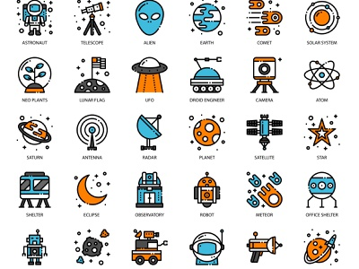 Astronomy filled outline design flat app vector ui illustration science astrology space pixelperfect icon astronomy