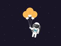 Astronaut with lightbulb