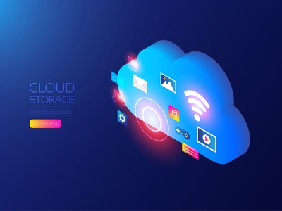 Isometric cloud service online hologram file storage entertainment data vector user interface ui background internet technology wireless wifi connection communication server isometric service cloud