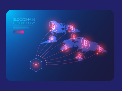 Bitcoin global network map online e-commerce money cryptocurrency blockchain bitcoin isometric artificial intelligence hologram digital user interface background technology design vector illustration