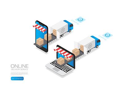 Isometric online delivery transportation delivery truck parcel business logistic belt smartphone internet computer app box online marketing isometric artificial intelligence digital background technology vector illustration