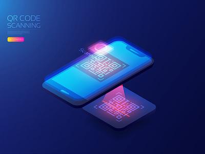 Isometric qr code scan isometric laser payment mobile phone smartphone qr code artificial intelligence hologram digital app user interface ui background technology vector illustration