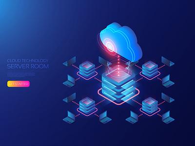 Cloud server room internet storage big data online network computer processor cpu server error cloud artificial intelligence app digital user interface ui background design technology vector illustration