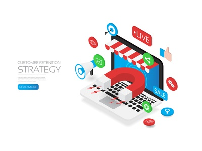Customer retention strategy like internet connection share seo promotion icon computers shopping advertising online marketing computer technology isometric flat magnet target business strategy